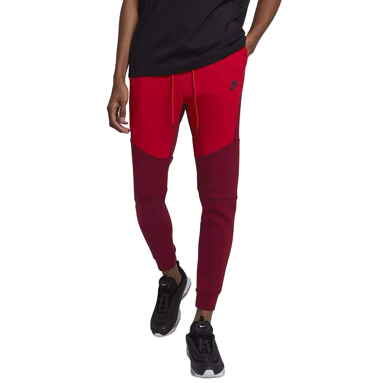 Nike Mens Sportswear Tech Fleece Jogger Sweatpants Team Red University Red Black 805162 677 Size X Large Amazon In Sports Fitness Outdoors