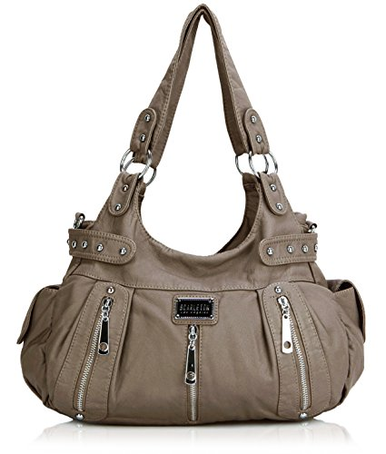 Scarleton 3 Front Zipper Washed Shoulder Bag H129242 - Light Brown