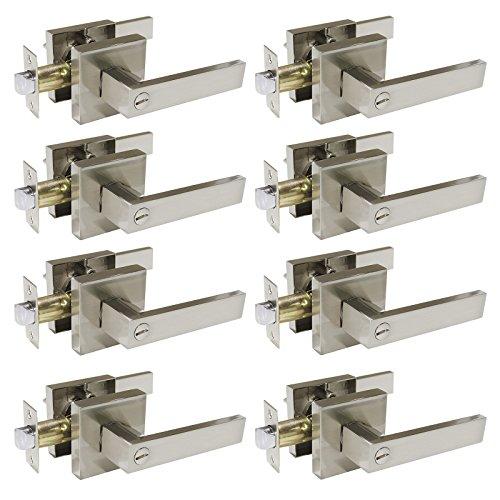 8 Pack Probrico Privacy Door Lock Hardware Door Lever Doorknobs Handle Storage Room Bathroom Keyless Without Key Square Rose Satin Nickel Door Lever-DL01