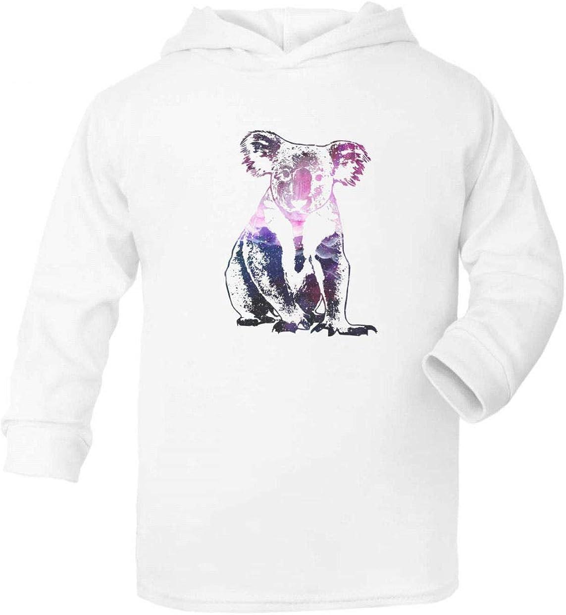 Cosmic Space Nebula Animal Silhouette Koala Kids Long Sleeve Hooded Top