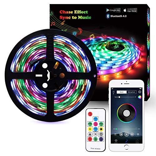 Music LED Strip Lights, 5M/16.54ft LED Lights Strip Bluetooth Smart Phone APP & RF Remote Controlled RGB LED Strip Rope Lights Waterproof LED Strip Lights Kits Support iPhone Android, Rainbow Colors -