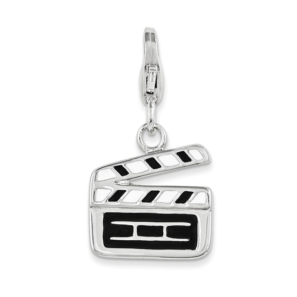 Solid 925 Sterling Silver Enameled Movie Clapper Board with Lobster Clasp Pendant Charm 14mm x 15mm