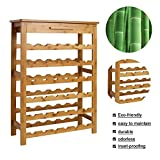 Kinbor Bamboo Wine Standing Rack Storage with Drawer(36-Bottle)