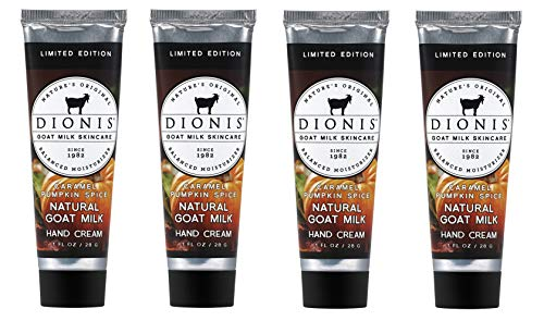 Dionis Goat Milk Hand Cream 4 Piece Travel Gift Set – Caramel Pumpkin Spice