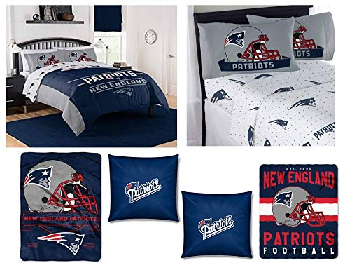 """The Northwest Company NFL New England Patriots """"Monument"""" Bedding Set - Includes 1 Full/Queen Comforter, 1 Queen Flat Sheet, 1 Queen Fitted Sheet, 2 Pillowcases,1 Blanket, 1 Throw and 2 toss Pillows (Fleece New Blanket Patriots England)"""