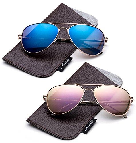 Aviator Sunglasses For Kids (Newbee Fashion-Polarized Kids Teens Juniors Aviator Polarized Sunglasses Stainless Steel Frame Spring Hinge Kids Polarized Sunglasses for Girls & Boys UV Protection with Carrying)