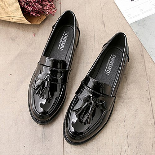 Giy Womens Vintage Oxfords Wingtips Slip-on Gland Casual Faible Confort Plat Robe Mocassins Chaussures Noir