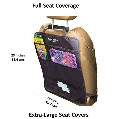 Superior Car Seat Back Protectors, Kick Mats With Organizer, 2 Pack with FREE GIFT - Best Backseat Protector, Universal Fit, Car Seat Covers - Must Have Car Accessories For Kids by Neelos Essentials (Image #1)