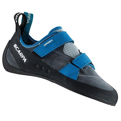 SCARPA Men's Origin Rock Climbing Shoes Iron Grey w/Locking Carabiner - 40.5