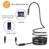 HD Endoscope USB Type C, SOPOW Semi-Rigid Android Endoscope Borescope Inspection Camera HD Snake Camera with 8 Adjustable Led Lights for Android Tpye-C Smartphone and PC - 5M