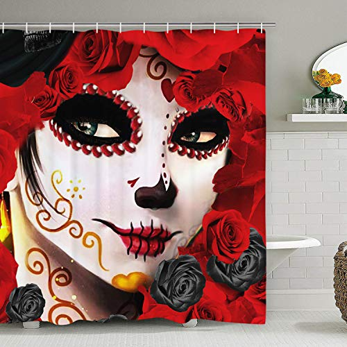 Day Of The Dead Shower Curtain - Sugar Skull Girl Shower Curtain with