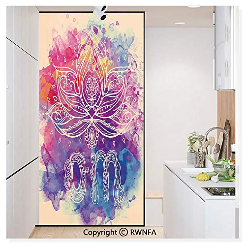 Window Door Sticker Glass Film,Psychedelic Oriental Lettering and Lillies with Surreal Hallucinatory Background Anti UV Heat Control Privacy Kitchen Curtains for Glass,30 x 59.8 inch,Multi
