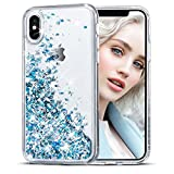 iPhone X Case, Maxdara Glitter Liquid Sparkle Floating Luxury Bling Quicksand Shockproof Protective Bumper Silicone Case Pretty Fashion Design for Girls Children[Pass MSDS&SGS Safety Test] ( Blue)