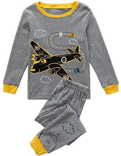 Boy Plane (Kids Pajamas Hop Boys Plane Pajamas Childrens 100% Cotton PJS Toddler Pyjama Set Sleepwear (Grey,4T))