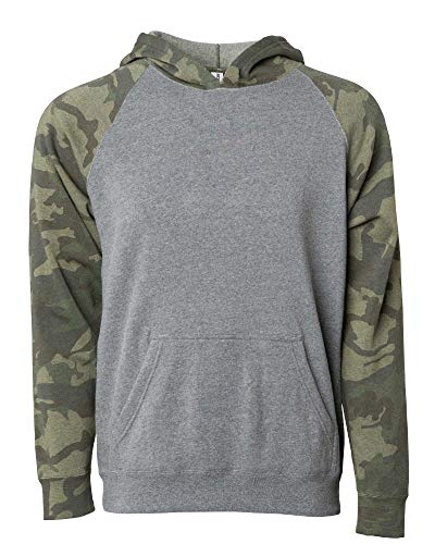 Global Boys Pullover Hoodie Girls Sweatshirts Front Pockets Fleece Kids Jacket (Large (14/16), Grey/Camouflage) ()