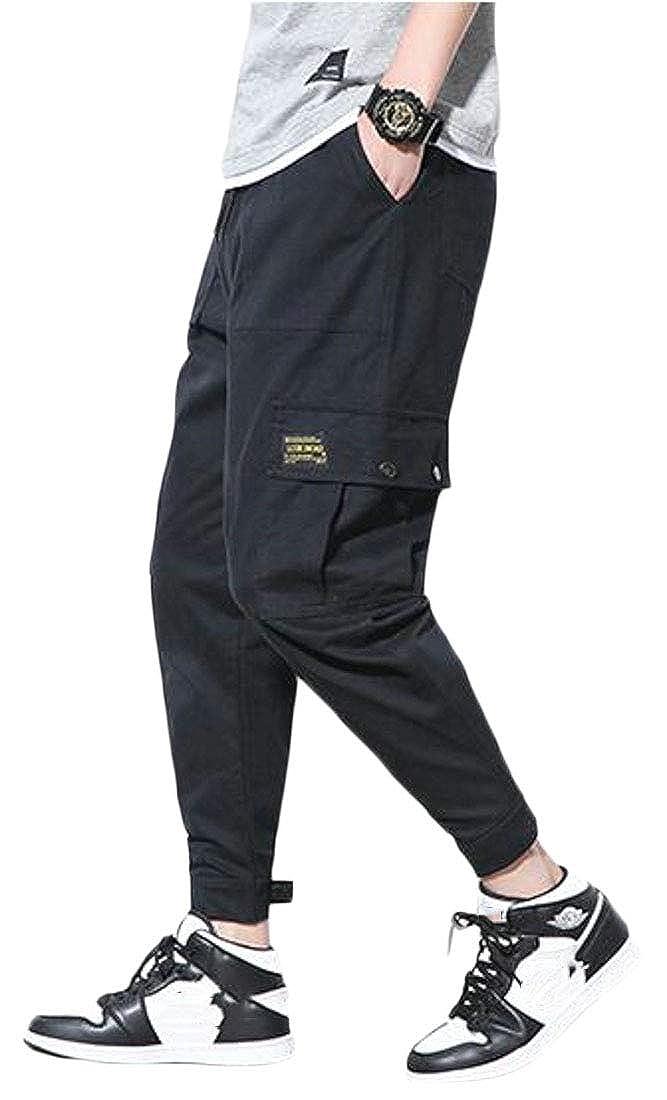 UUYUK Men Elastic Waist Camo Plus Size Utility Cotton Casual Cargo Jogger Pants