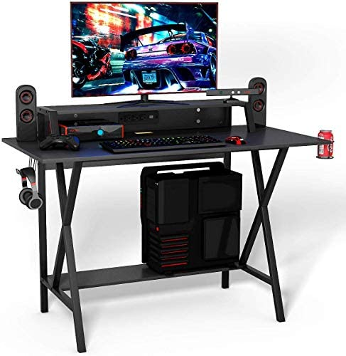 GOFLAME Gaming Computer Desk, Large Computer Gaming Workstation with Cup Headphone Holder, Study Writing Desk for Home and Office, Black