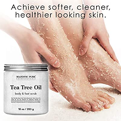MAJESTIC PURE Tea Tree Body and Foot Scrub - Best Anti Fungal Exfoliating Cleanser for Skin - Natural Help Against Acne and Callus - Promotes Healthy Foot - 10 oz