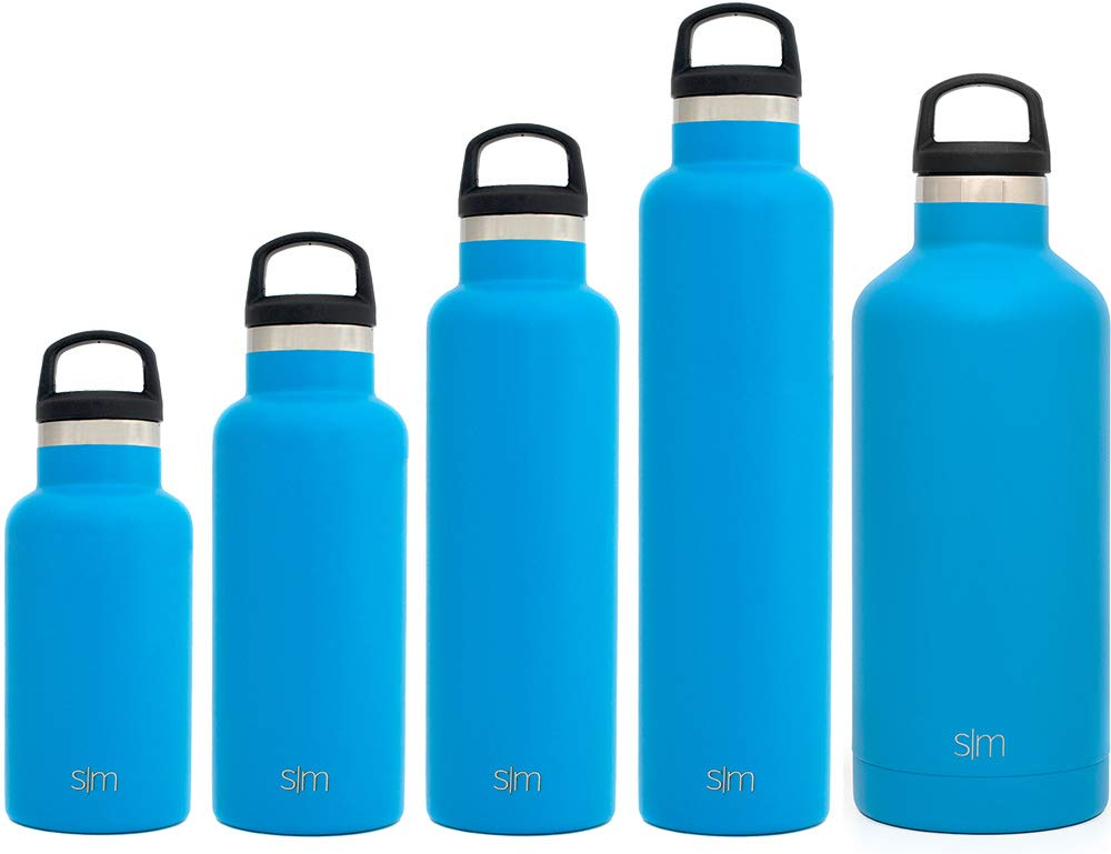 Simple Modern 20oz Ascent Water Bottle - Vacuum Insulated Narrow Mouth Leak Proof Cupholder Friendly 18/8 Stainless Steel Blue Swell Flask - Double Walled Hydro Travel Mug - Sky by Simple Modern