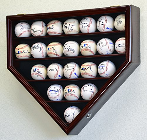 23 Baseball Display Case Cabinet Holder Wall Rack Home Plate Shaped w/ UV Protection- Lockable -Cherry (Display Case Baseball Four)
