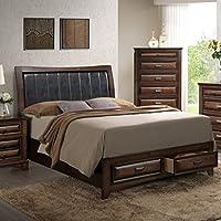 Roundhill Furniture B179Q Broval 179 Light Espresso Finish Wood Queen Size Storage Platform Bed