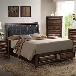 Roundhill Furniture B179K Broval 179 Light Espresso Finish Wood King Size Storage Platform Bed-P