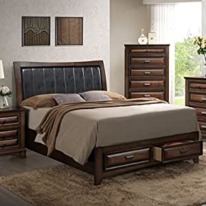 Roundhill furniture b179q broval 179 light espresso finish wood queen size storage - Light wood platform bed ...
