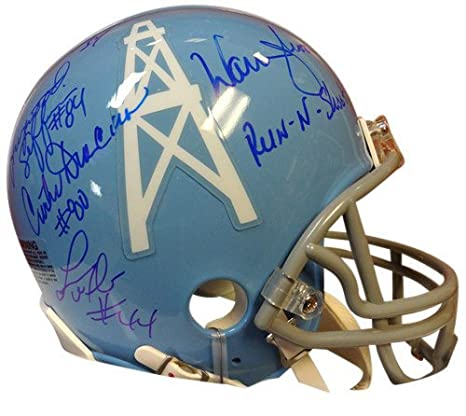 be0a2bb68 Houston Oilers Run and Shoot Signed Replica Mini Helmet With 5 Signatures  Including Warren Moon -