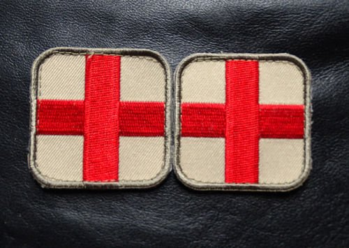 Logo patch embroidered)MEDIC CROSS EMT EMS RED CROSS 2.0 x 2.0 2 PC FIRST AID HOOK PATCH + E-book with pictures