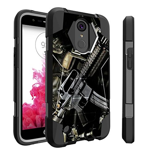 Untouchble Case for LG K20| K 20 Plus Hard Case| LG Grace | K10 (2017) Case | LG V5 [Traveler Series] Shockproof Hybrid 2 Layer Case with Kickstand Case - Tough Assault Rifle