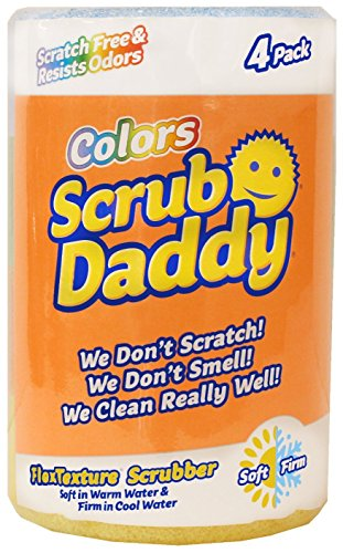 :Scratch Free Scrub Daddy Colors 1 each of blue,green,orange, and yellow (4 count)
