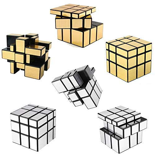 Mirror Block (6 Pack Mirror Speed Cubes | Puzzle 3x3x3 Gold & Silver Mirror Magic Cube Bulk Set | Kids Brain Teaser Party Favors)