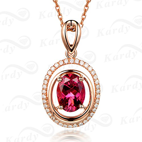 Perfect Natural Pink Tourmaline Gemstone Diamond Rose 14K Gold Engagement Bridal Wedding Chain Pendant Sets for Women by Kardy
