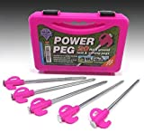 Blue Diamond 20 x Tent Awning Camping Heavy Duty Power Peg Hard Ground Pegs - PINK (Storage Case Included)