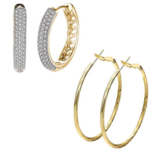 Religious Jewelry Store 14k Earrings - 14K Gold Plated 50mm Hoop Earrings & Cubic Zirconia Round Hoops For Women Girls Nice Gift (2Pcs)