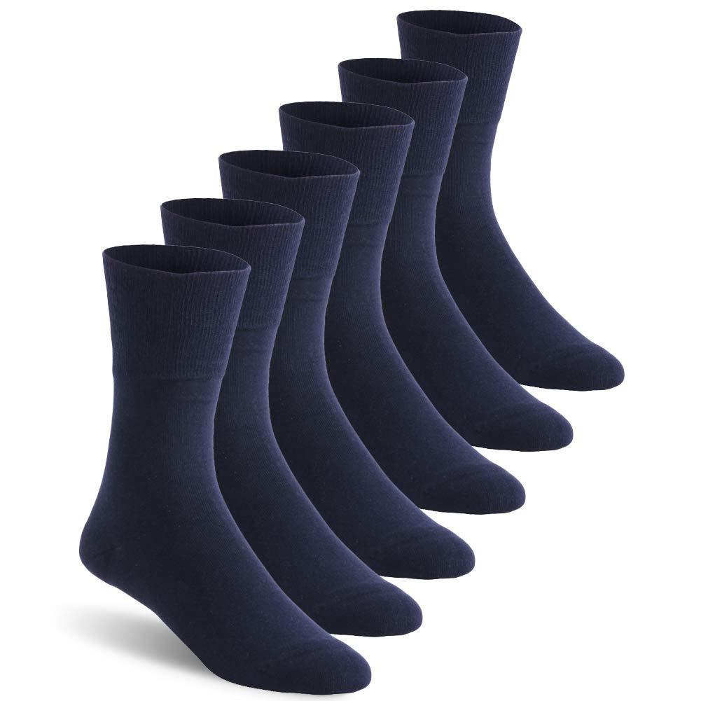 Diabetic Socks for Men, Feelwe Non Slip Non-Binding Soft Stretchy Breathabl Ankle Athletic Socks Cushioned Moisture Wicking Crew Dress Socks 6 Pairs Navy XL by Feelwe