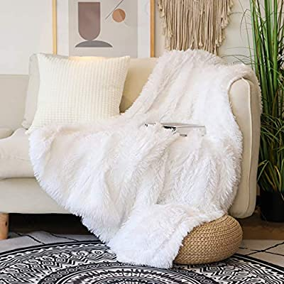 "Decorative Extra Soft Faux Fur Throw Blanket 50"" x 60"",Solid Reversible Fuzzy Lightweight Long Hair Shaggy Blanket,Fluffy Cozy Plush Fleece Comfy Microfiber Fur Blanket for Couch Sofa Bed,Pure White - √ LIGHTWEIGHT FLUFFY FABRIC & REVERSIBLE DESIGN - These luxurious shaggy faux fur blanket are made of 100% polyester microfiber dyed fabric.Lovely soft 4cm long hair fabric and skin-friendly velvet fleece reverse are seamlessly sewed together with durable seam.Suitable for spring/summer/autumn.No shedding and fading.Good Choice for Christmas. √ BLANKET SIZE & ELEGANT COLOR -50""x 60"" (130 * 150 cm),suitable for chair and couch as a decorative fur blanket to keep warmth.Perfect for covers feet up to shoulder level for snuggling or relaxing.Pure white is true white color without impurities.Classic and Elegant.Keeps couch and bed spotless. √ Widely Design & Home Decor - Get coziness and warmth with this soft and fuzzy plush fur blanket,perfect for snuggling up on the couch, bed, chilled movie theater, park or perfect personal gift for any occasion.Being able to take beautiful pictures on your social software as a photography prop,your pets will like the soft feeling of long hair blanket as well. - blankets-throws, bedroom-sheets-comforters, bedroom - 51icV19rrxL. SS400  -"