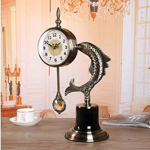 KUQIQI 時計金属ヨーロッパの時計リビングルームの時計創造的な座っている時計イカの装飾品ファッションミュートカウンター時計 (Color : Fish)
