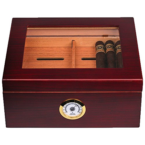Mantello 25-50 Cigar Desktop Humidor Humidifier Glasstop w/Tray