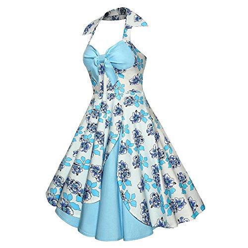 Halter Rockabilly Dress Tea Vintage CharMma Swing Print Light Women's Cocktail Blue Floral w7UztzEq