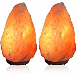 "UmAid Himalayan Salt Lamp Natural Himilian Hymalain Pink Salt Rock Lamps(4-7 lbs,6.5-8"") with Genuine Neem Wood Base, Dimmer Switch, UL Cord & Gift Box (2-Pack)"