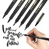 Frienda Refill Brush Calligraphy Pen for Lettering, 4 Sizes Black Brush Marker Pen Calligraphy Set for Beginners Writing, Signature, Illustration, Design and Drawing (5 Brush Pens and 1 Refill)
