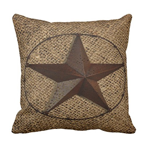 Emvency Throw Pillow Cover Wedding Primitive Rustic Burlap Western Country Texas Cowboy Decorative Pillow Case Home Decor Square 16 x 16 Inch Pillowcase