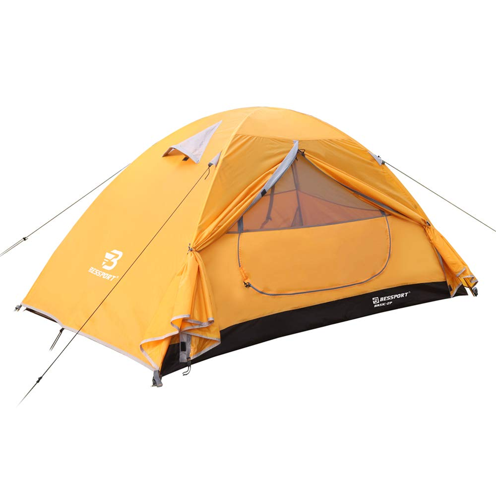 Bessport Camping Tent 2-Person Lightweight Backpacking Tent Waterproof Two Doors Easy Setup Tent for Outdoor, Hiking Mountaineering Travel (Orange) by Bessport