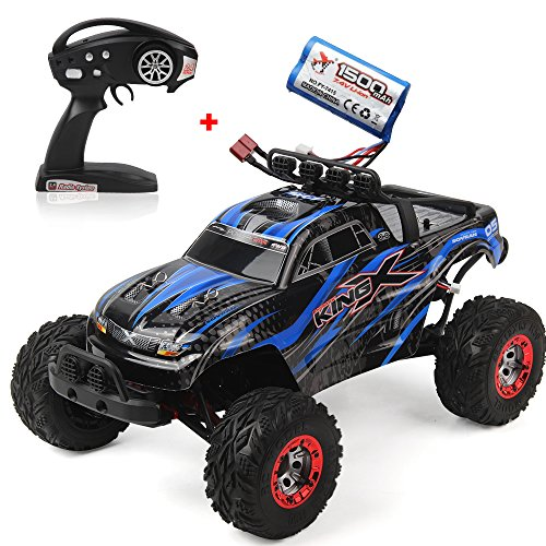 JTT-TOYS RC Truck, 1/12 Electric Remote Controlled Car 35km/h High Speed Brushless Off Road RC Car 4WD 2.4G RC Monster Truck RTR X-King-5 with Extra Battery(Blue)
