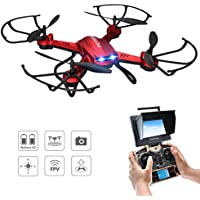 Drone with Camera, Potensic F181DH Drone Quadcopter RTF Altitude Hold UFO with Newest Hover Function,2MP Camera& 5.8Ghz FPV LCD Screen Monitor(Red)