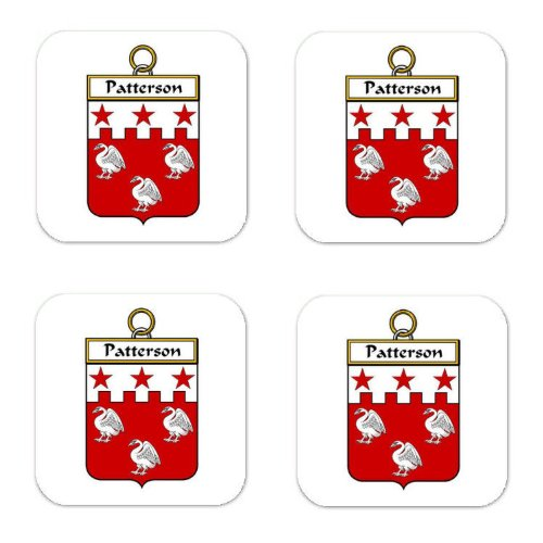 Patterson Family Crest Square Coasters Coat of Arms Coasters