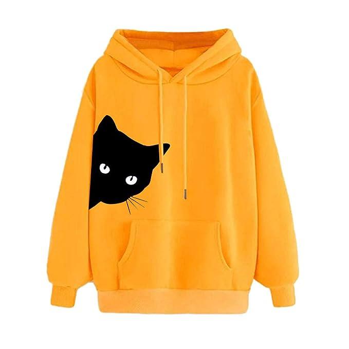 Sudadera Mujer Gato Camiseta Blusa de Otoño e Invierno de ...