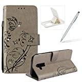 Diamond Wallet Case for Galaxy A6 Plus 2018,Strap Portable Leather Case for Galaxy A6 Plus 2018,Herzzer Stylish Bling Gray Butterfly Embossed Pu Leather Magnetic Flip Folio Protective Case