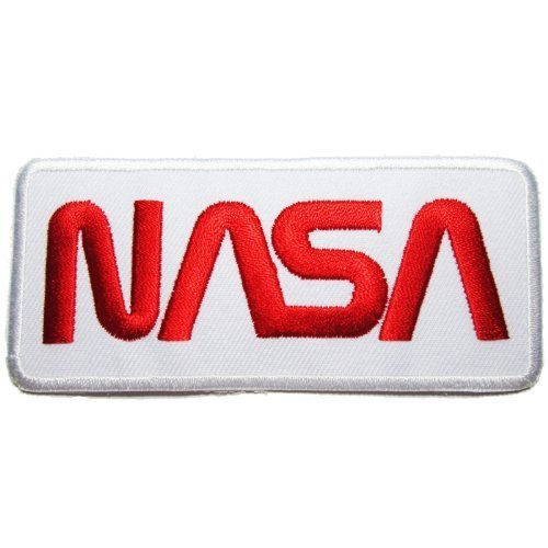 NASA Badge Iron on Patches #White-Red ()